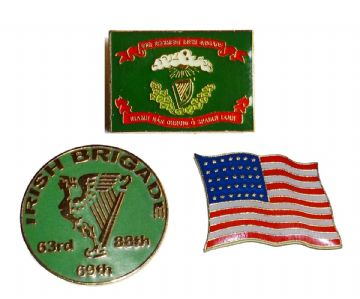 Union Irish Brigade Flags Badge Set